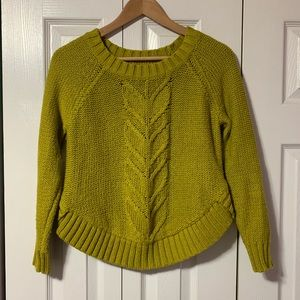 Aerie Olive Green Knit Crop Sweater small